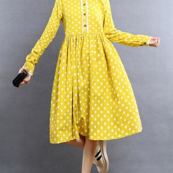2016 Fashion Cute Spring Autumn Women Dress Peter Pan Collar Dot Printed Femme Vestidos Long Sleeve Yellow Navy Blue Lady Dress