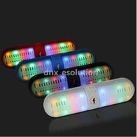 LED Portable Bluetooth Wireless FM Stereo Speaker For Smartphone Laptop Tablet