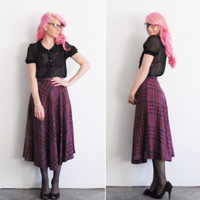 purple tartan plaid skirt . dapper high waist .small .disaster relief