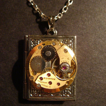 Steampunk Watch Movement Locket Necklace