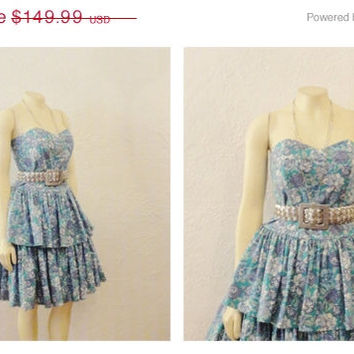 SALE Vintage Dress Laura Ashley 80s 90s Floral Prom 2 Tier Blue Periwinkle Aqua Modern Small to Medium RARE
