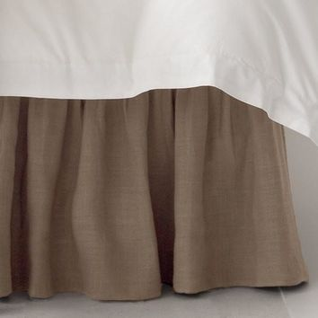 Stone Washed Linen Paneled Bed Skirt   Natural