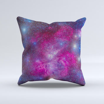 Pink & Blue Galaxy  Ink-Fuzed Decorative Throw Pillow