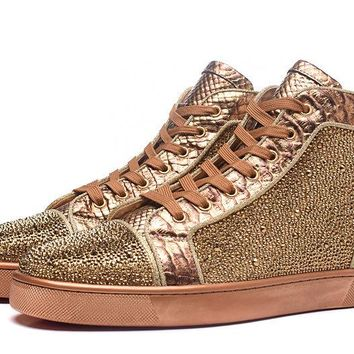 Christian Louboutin Louis Strass Men's Women's Flat Gold Leather