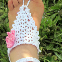 White Crochet Barefoot Sandals, Foot Jewelry, Nude Shoes, Yoga, Anklet, Beach Wear, Bohemian, Flower, Hippie Shoes, Footless