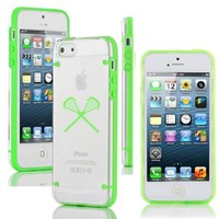 Apple iPhone 5c Ultra Thin Transparent Clear Hard TPU Case Cover Lacrosse Sticks (Green)