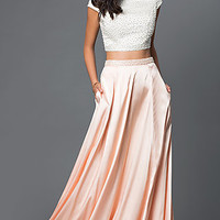 Pearl Detail Long Satin Cap Sleeve Prom Dress