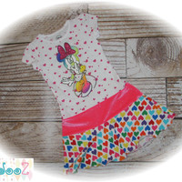 """Upcycled, altered, Minnie Mouse t-shirt dress, approximate size 4/5 or 12"""" x 26"""""""