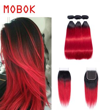 MOBOK Mongolian Pre-Colored Straight Hair 3 Bundles Ombre Human Hair Weave With 4*4 Lace Closure 100% Remy Hair OT 130 Red Color