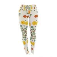 "Laura Nicholson ""Ranunculas"" Floral Yellow Yoga Leggings"
