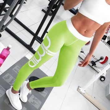 Women sexy cut exercise Leggings fall light gray pink pants waist fashion printing leggings Slim pants Fluorescent green