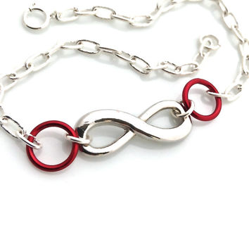 Infinity Bracelet, Red, Friendship, Silver Infinity, Love, Friend, Adjustable