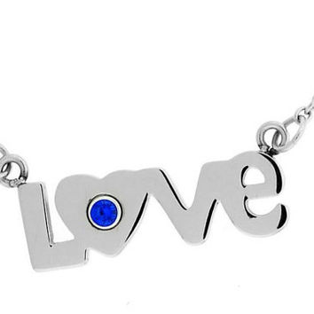 September Sapphire Love Pendant In Stainless Steel