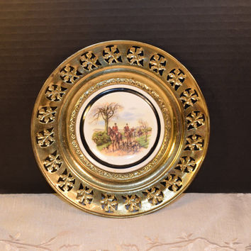 Regency Bone China and Brass Wall Plate England Vintage The Huntsman Brass Framed Plate Horses Hunting Dogs English Tavern Pub Decor