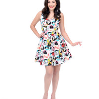 Multicolor Comic 'Kiss Me' Fit N Flare Dress