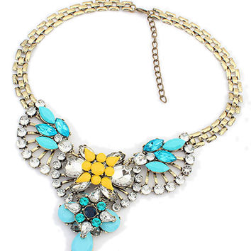 ( 2-Days FREE SHIPPING) Blue Floral Gemstone Rhinestone Chain Necklace