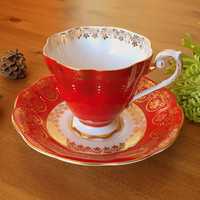Royal Standard tea cup! Vibrant red and gold pattern. Circa 1950s.