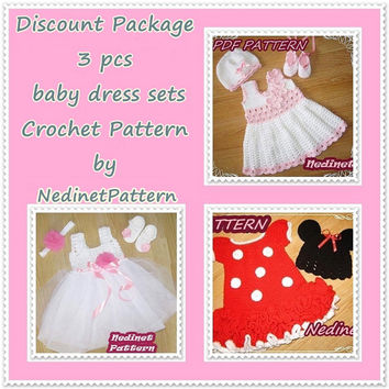 CROCHET PATTERN Discount sets pattern, crochet baby dress pattern, headband pattern, crochet dress pattern, Pdf Pattern, 0-1 years