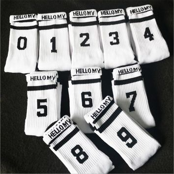 Cotton White My Luck Number 0-9 Unisex Women Men Socks Cotton Long Floor Socks Casual Fashion Socks