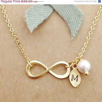 ON SALE Hello February Personalized Infinity Necklace -Sister Infinity Jewelry -Valentines Giftt -Mother's Day gift - SHIPS in 1-2 Weeks