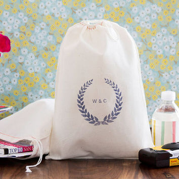 Personalized 10 Laurel Wreath Wedding Welcome Bags