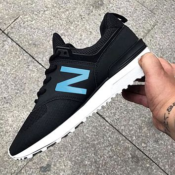 New Balance Comfortable and breathable Shoes Black blue Z