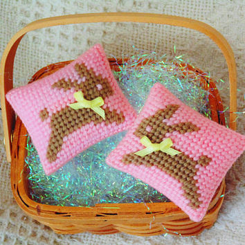 Brown Bunnies, Easter Basket Favors, Basket Fillers, Baby Rabbits, Mini Pillows, Needle Art Rabbits, Spring Easter Bunnies, Child's Gift