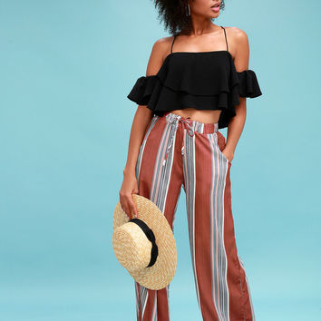 Rio Rust Red Striped Wide-Leg Pants