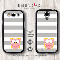 Samsung Galaxy S4 case, Samsung Galaxy S3 case, Phone Cases, Phone Covers, Skins, Case for Samsung, Strip Owl-A0281