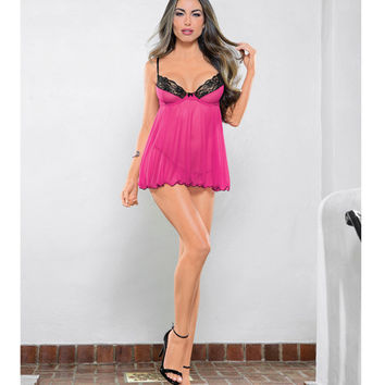 Babydoll W-lace Trim, Underwire, Adjustable Straps & G-string Rasberry-black O-s