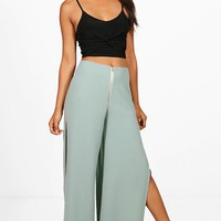 Megan Woven Extreme Split And Zip Wide Leg | Boohoo