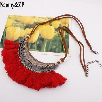 Naomy&ZP Tassel Necklace For Women Big Ethnic Necklace Bohemia Long Choker Statement Necklace Boho Vintage Punk Fashion Jewelry