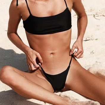 Black High Leg Tie Shoulder Bandeau Beachwear
