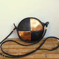 80s Round Handbag, Black Leather Purse, Small Gold Clutch, Tiny Crossbody Bag, Over the Shoulder Party Disco Bag, Bronze Zipper Wallet