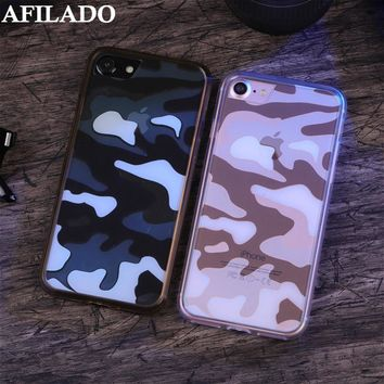 Luxury Army Camo Camouflage Coque Cover Case for Apple IPhone 7 Silicone Clear Phone Shell Capa Housing Back Cover for IPhone 7