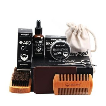 Men Beard Oil Kit Beard Oil Brush Comb Beard Cream Scissors Grooming Kit Beard Care Set