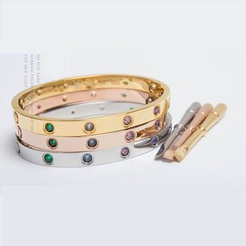 Multu Color Cartier Style locking bracelet with key