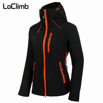 LoClimb Female Softshell Hiking Jacket Women Spring Windproof Waterproof Coat For Outdoor Sport Trekking Cycling Travel,AW075