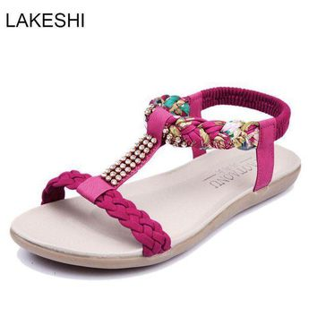 LAKESHI Fashion Women Sandals Flats Ankle-Strap Women Shoes Summer Sandals Ladies Beac