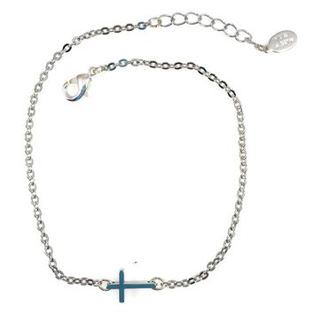 Ankle Bracelet with Cross and Made in USA Tag