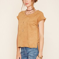 Contemporary Faux Suede Top