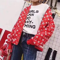 """Louis Vutitton LV×Supreme"" Women Fashion Logo Letter Print Long Sleeve Baseball Clothes Zip Cardigan Coat"