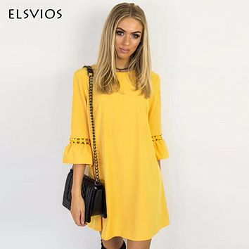 ELSVIOS Women Summer Dress Spring Flare Three Quarter Sleeve Lace Patchwork Dress Casual O Neck Ladies A-Line Dresses Vestidos