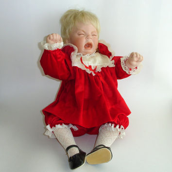 Vintage Porcelain Doll, Crying Doll, 21 Inch Bisque Doll, Blonde Sitting Bent Limb Body, Real Eyelashes, Tantrum, Christmas Red Velvet