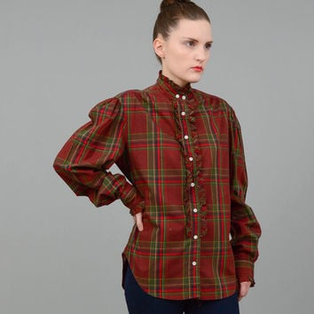 Vintage 80s RALPH LAUREN Plaid Shirt Cotton Ruffled Blouse Preppy Puff Sleeve Button Up Shirt Navy Red Green Medium M
