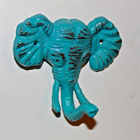 Turquoise Elephant Wall Hook by AquaXpressions