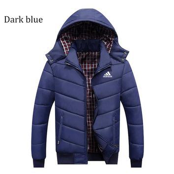 ADIDAS autumn and winter men's thick hooded casual windproof sports jacket plus velvet padded jacket Dark blue