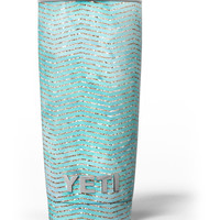 Blue-Green Watercolor and Gold Glitter Chevron Yeti Rambler Skin Kit