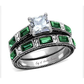 A Perfect Vintage 2CT Princess Cut Russian Lab Diamond Emerald Green Bridal Set