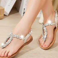 Rhinestone Thongs Beach Sandals